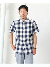 リネン混ブロックチェック半袖シャツ