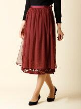 《ef-de》レースレイヤードフレアスカート