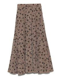 SNIDEL サテンプリントヘムスカート スナイデル スカート フレアスカート ベージュ ブラック ブラウン【送料無料】