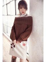 パーツファー刺繍台形スカート