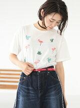 フラミンゴ&サボテン刺繍Tシャツ