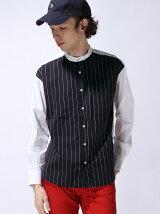 【WEGO】(M)ストレッチバンドカラーシャツ