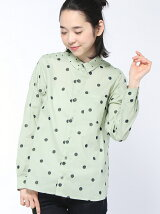 ローンドット刺繍MIXシャツ