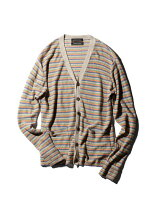 メンズMULTI BORDER LINEN CARDIGAN