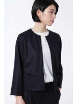 ウールカルゼニットノーカラージャケット[HUMAN WOMAN Japan cout