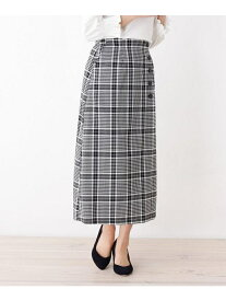 【SALE/40%OFF】SOUP 【大きいサイズあり・13号・15号】innowave飾りボタンロングチェックスカート スープ スカート ロングスカート ブラック ベージュ【送料無料】