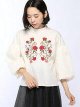 【Dukkah】(L)刺繍ハイネックボリュームブラウス