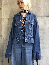 DENIM LACE UP JACKET