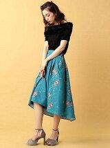 バラ刺繍イレギュラーヘムスカート
