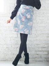 プードル花柄台形スカート
