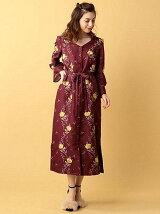 バラ刺繍マキシワンピース