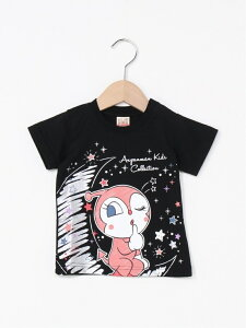 ANPANMAN KIDS COLLECTION (K)キラキラドキンちゃんTシャツ アンパンマンキッズコレクション カットソー キッズカットソー ブラック ピンク