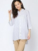 【レディース】テンセルコンロングシャツ8分袖