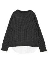 裾シャツタンク付きラーベン編みニットP/O