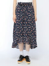 【Dukkah】(L)フラワーフリルイレヘムスカート