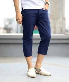 MEN'S BIGI ストレッチクロップドパンツ(COOL MAX)/7分丈 メンズ ビギ パンツ/ジーンズ フルレングス ネイビー ホワイト ベージュ グレー ブラック【送料無料】