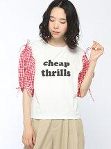 【Dukkah】(L)肩開きリボンロゴTシャツ