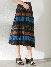【SALE/30%OFF】GUILD PRIME 【LOVELESS】WOMENシアーチェックスカート ラブレス スカート ロングスカート ブラウン イエロー【送料無料】
