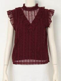 STRIPE LACE STAND FRILL TOPS スライ カットソー【送料無料】