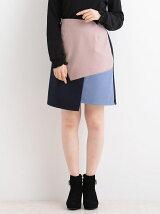 カラーブロック台形ミニスカート