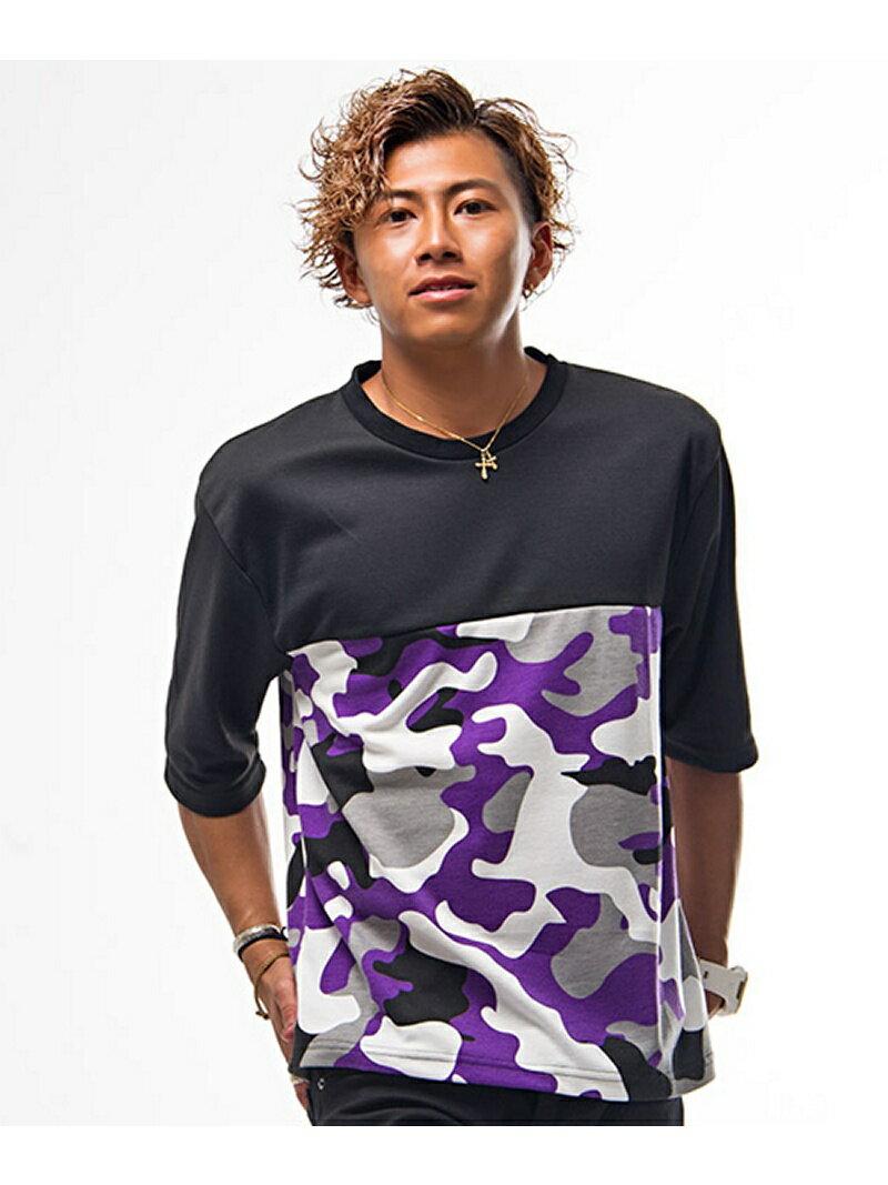 CavariAマルチカラー迷彩柄切替デザインクルーネック5分袖Tシャツ シルバーバレット カットソー【送料無料】