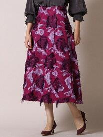 【SALE/40%OFF】Viaggio Blu フラワージャガードタックフレアスカート ビアッジョブルー スカート ロングスカート ピンク ネイビー【送料無料】