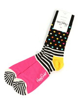 (W)【WEB店限定】【Happy Sock】STRIPE & DOTS