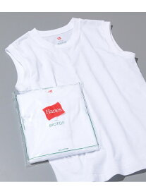 ADAM ET ROPE' 【HanesFORBIOTOP】SleevelessT-Shirts アダムエロペ カットソー カットソーその他 ホワイト【送料無料】