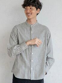 【SALE/50%OFF】coen テキサスコットンストライプバンドカラーシャツ コーエン シャツ/ブラウス 長袖シャツ グレー ホワイト