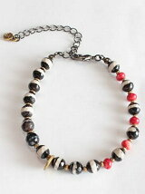 By color quartz & Coral & Brass Beads Bracelet