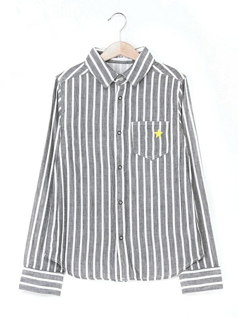 SLAP SLIP Wガーゼストライプシャツ ベベ オンライン ストア カットソー【送料無料】