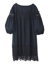 裾刺繍レースサックワンピ