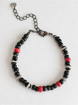 Brack grass & By color quartz & Coral & Silver Beads Bracelet