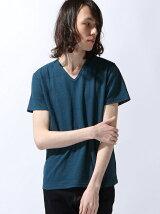 (M)NAVAL Select/ジャカードリンクスVネック半袖Tシャツ