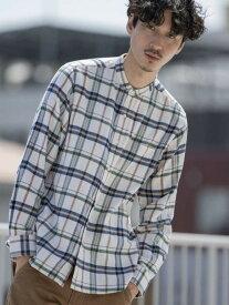 【SALE/55%OFF】coen テキサスコットンチェックバンドカラーシャツ# コーエン シャツ/ブラウス 長袖シャツ ホワイト ベージュ レッド ネイビー