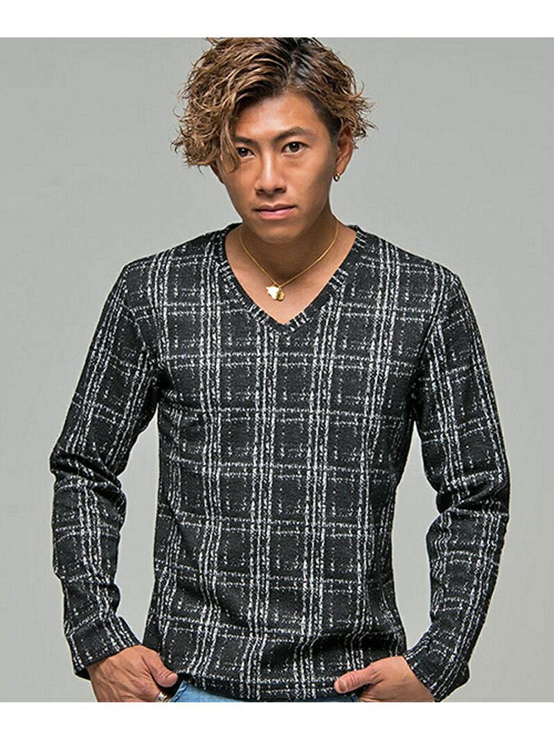 CavariAかすれチェックVネック長袖Tシャツ シルバーバレット カットソー【送料無料】