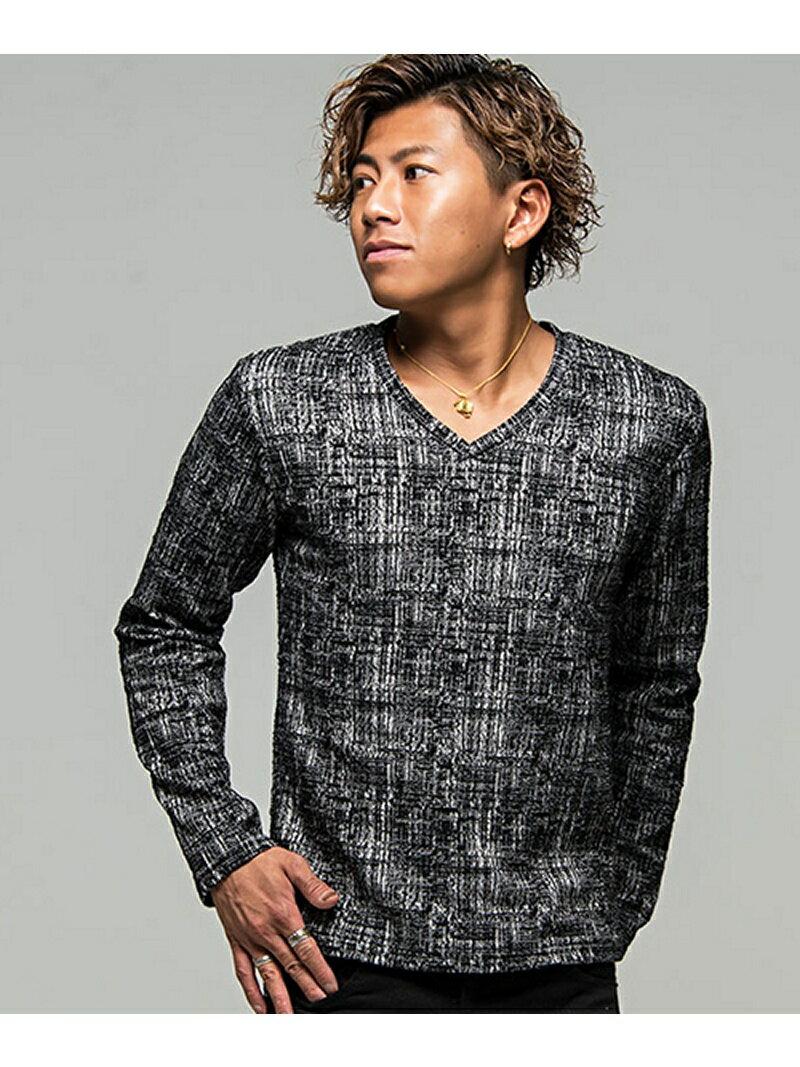 CavariAモザイクチェックVネック長袖Tシャツ シルバーバレット カットソー【送料無料】