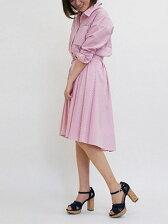 ストライプシャツ×共布ベルト付スカート