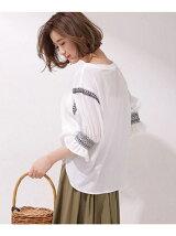 スモッキング刺繍パフ袖ブラウス