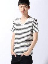 ジャガードボーダーVネックTシャツ