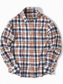 SHIPS SC:ペルヴィアンピマチェックボタンダウンネルシャツ シップス シャツ/ブラウス 長袖シャツ オレンジ ブラウン レッド ホワイト ネイビー【送料無料】
