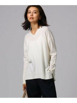 UNTITLED [L] washable wool cashmere V neck knit Ann title knit knit and others white yellow blue navy