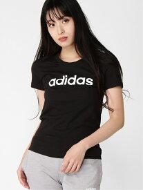 【SALE/60%OFF】adidas Sports Performance (W)W 半袖 リニア コットン Tシャツ アディダス カットソー Tシャツ ブラック ブルー ホワイト