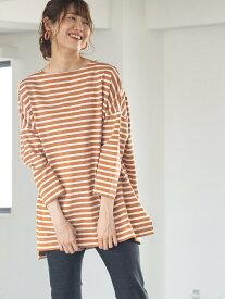【SALE/40%OFF】coen スリット入りボーダーチュニック コーエン カットソー Tシャツ ブラウン ブラック