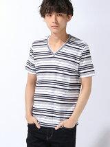 VネックボーダーTシャツ/ロープボーダー