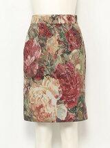ジャガードフラワータイトスカート