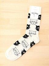 (W)【WEB店限定】【Happy Sock】キャットパターン
