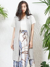 麻ポリエステル ロングジレ × Tシャツ Set