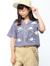 ストライプブロード立体フラワー刺繍ボーラーシャツ
