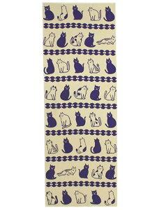 カヤ 分銅猫(ふんどうねこ)手ぬぐい チャイハネ ファッショングッズ ハンカチ/タオル グレー